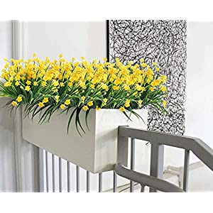4pcs Artificial Yellow Daffodils Flowers Fake Shrubs UV Resistant Faux Plants Faux Plastic Bushes Indoor Outdoor Home Office Garden Patio Yard Table Wedding Farmhouse Centerpieces Pot Decor (Yellow) 3