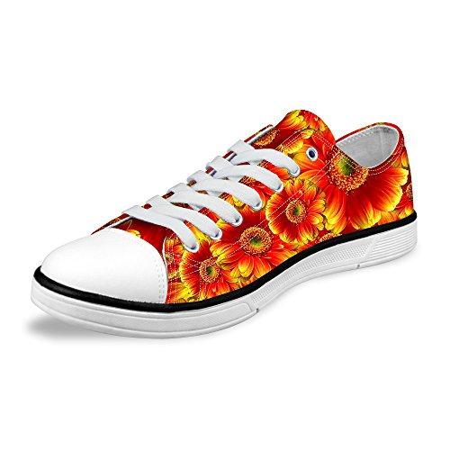 Per Te Design Elegante Donna Casual Lace-up Low-top Comfort Canvas Sneaker Moda Arancione C
