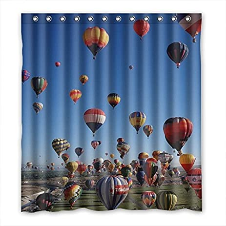 QYOU Custom Hot Air Balloons Shower Curtain Waterproof Polyester 66u0026quot;  ...