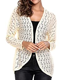 Women's Long Sleeve Sheer Lace Crochet Open Front See Through Cardigan Tops