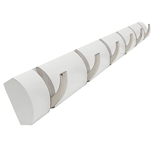 loiofoe con sistema de enganche de pared con 6 ganchos, Natural, Blanco, 29.1*2.4*1.2 inch