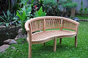 Teak Banana Orlando Curved Garden Bench Amazoncouk Kitchen