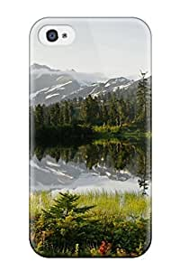 Protective Tpu Case With Fashion Design For Iphone 4/4s (picture Lake Mountain Shuksan Green Grass Mirror Firs Spring Nature Other)