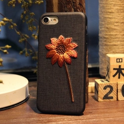 Classy Slim Cover Estuche de Bordado de Lujo para iPhone 6 Plus Flower Plant Contraportada para...