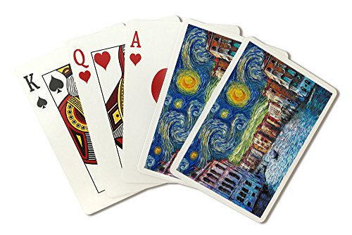 Venice, Italy - Starry Night - Van Gogh (Playing Card Deck - 52 Card Poker Size with Jokers) by Lantern Press