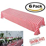 Pack of 6 Plastic Tablecloths - Picnic Table Covers for Party Camping