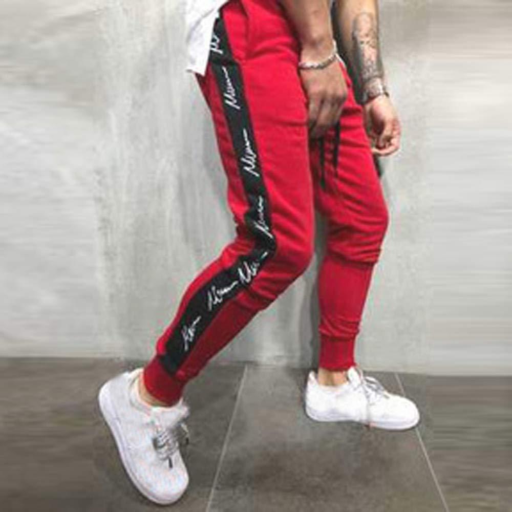 GoodLock Mens Fashion Patchwork Jogger Pants Casual Autumn Winter Drawstring Sweatpants Trouser Pants