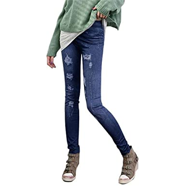 K-Youth® Imitación Pantalones de Mezclilla Mujer Pantalones ...