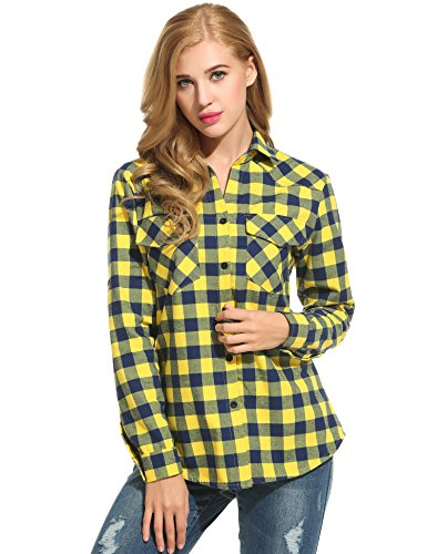 Women's Plaid Flannel Shirt, Roll Up Long Sleeve Checkered Cotton Shirt (Medium, Yellow) (Yellow Plaid Flannel)
