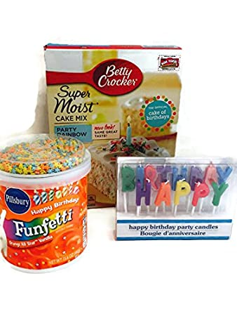 Betty Crocker Super Moist Party Rainbow Chip Cake Mix Bundle with 3