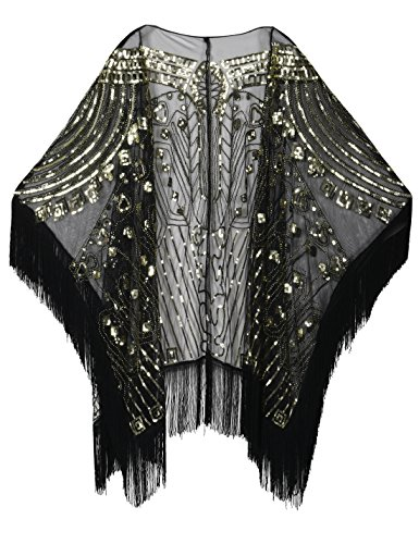 - PrettyGuide Women's Evening Shawl Beaded 1920s Cape Poncho Fringed Cover Up Gold