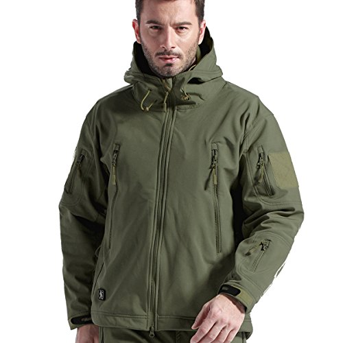 FREE SOLDIER Tactical Jacket Soft Shell Fleece Lined Water Repellent Coat Windproof Outwear Camouflage Jacket(Green L)