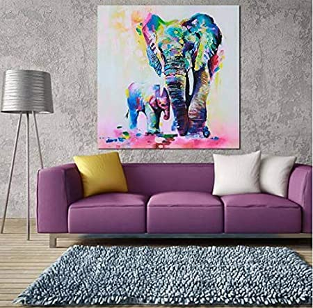 N / A HD Elephant Wall Canvas Room Decoración Frameless Canvas Poster Frameless Painting 50cmX75cm