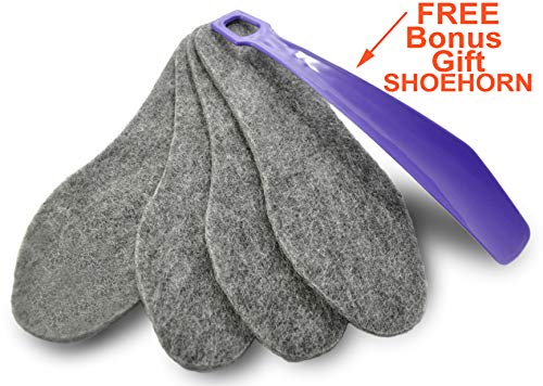 Felt Wool Insoles, 7 Man Size, Super Warm Boot Inserts, Best for rain, Frost and Cold Weather, for Warmth in Autumn and Winter, 4 mm Thick, 2 Pairs, Gray, Free Bonus Gift Blue Shoehorn, 801222