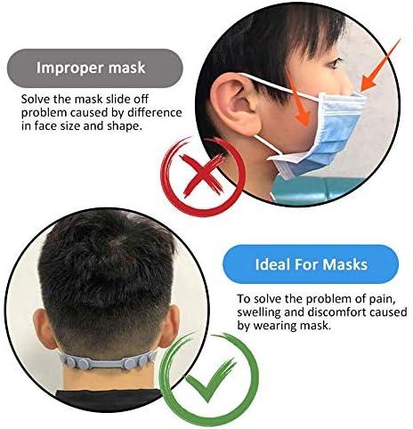4 PCS verstellbare rutschfeste Maske Ohrgriffe Verlängerungshaken, Masken Schnallenriemen Extender Silikon Bequem, Weiß Rosa Grau Blau für Erwachsene Kinder