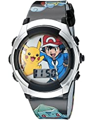 Pokémon Kids' Digital Watch with Silver Bezel, Black Strap, Flashing LED Lights - Official Pokémon Characters on the Dial, Safe for Children - Model: POK3018