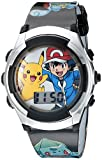 Pokémon Kids' Digital Watch with Silver Bezel, Black Strap, Flashing LED Lights - Official Pokémon Characters on the Dial, Safe for Children - Model