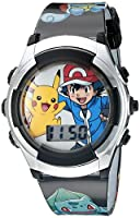 Pok+¬mon Kids' Digital Watch with Silver Bezel, Black Strap, Flashing LED Lights - Official Pok+¬mon Characters on the Dial, Safe for Children - Model: POK3018