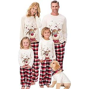 Beautyjourney Famiglia Pigiami Natale Pigiama Bambina Natale Maniche Lunghe Ragazzi Pigiama Donna Ragazze Uomo Due Pezzi… 3