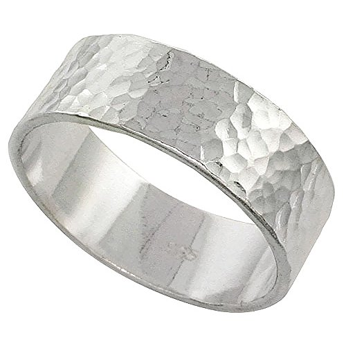 [Sterling Silver 8 mm Hammered Wedding Band Ring Flat Top Handmade 5/16 inch wide, size 7] (Handmade Hammered Ring)