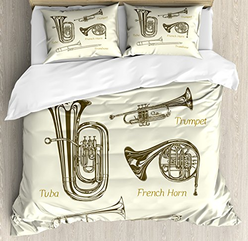 Lunarable Music Queen Size Duvet Cover Set, Brass Family Instruments Drawing of Tuba Trumpet Trombone and French Horn, Decorative 3 Piece Bedding Set with 2 Pillow Shams, Army Green Ivory Khaki ()