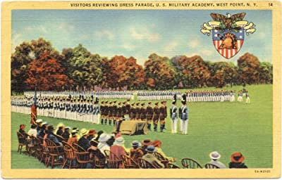 1940s Vintage Postcard - Visitors reviewing Dress Parade - U.S. Military Academy - West Point New York