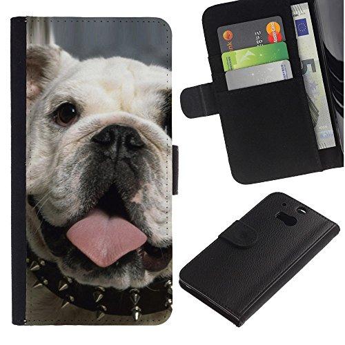 OMEGA Case / HTC One M8 / punk English bulldog London icon dog / Cuero PU Delgado caso Billetera cubierta Shell Armor Funda Case Cover Wallet Credit Card