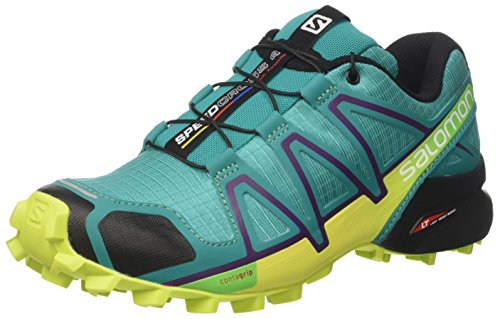 Salomon Women's Speedcross 4 W Trail Runner, Deep Peacock Blue/Lime Punch./Grape Juice, 8.5 B(M) US