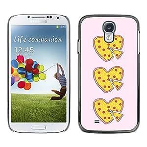 TopCaseStore / la caja del caucho duro de la cubierta de protección de la piel - Love Food Yellow Pink Heart - Samsung Galaxy S4 I9500
