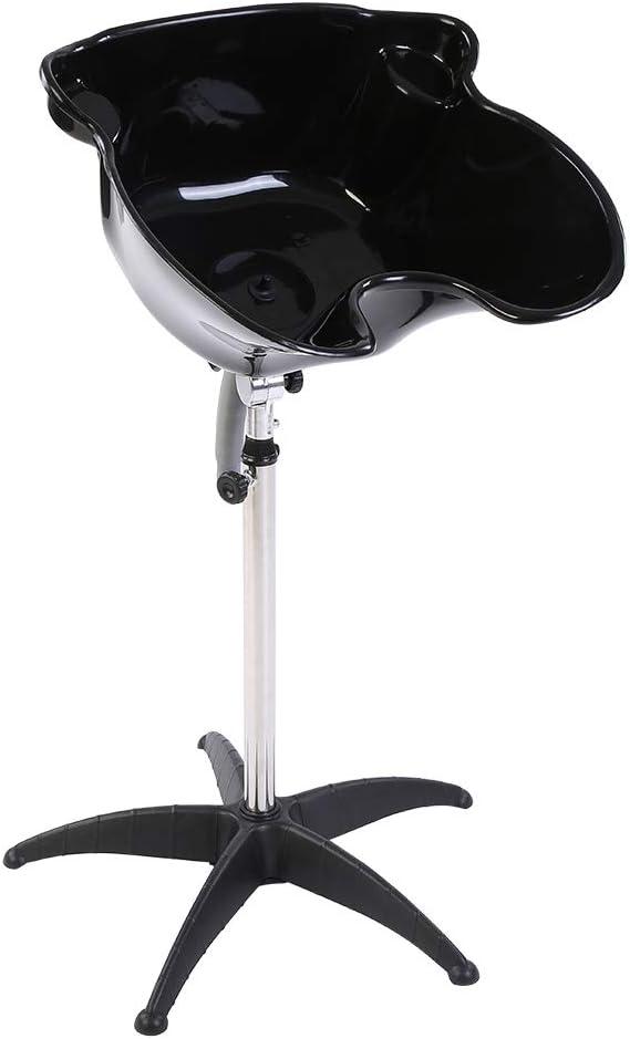 lavacabezas Portátil, lavacabezas peluquería Portátil Profesional, fregadero para barbero ajustable y basculante, Negro