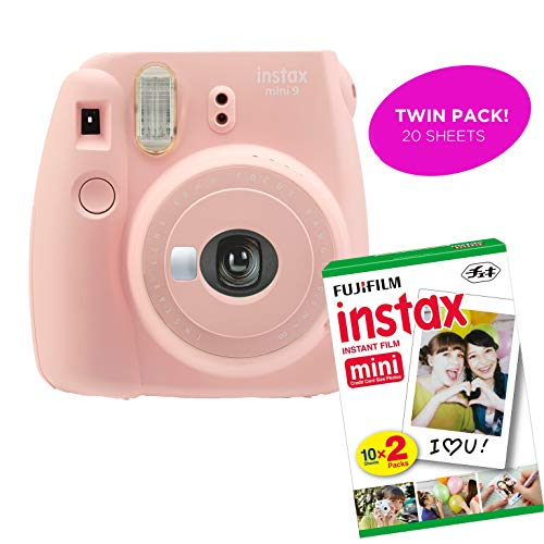 Fujifilm Instax Mini 9 Instant Print Camera (Certified Refurbished) Plus Twin Pack of Film Starter Bundle | 10 Sheets x 2 = 20 White Frame Instant Exposure Photograph Sheets (Rose Quartz)