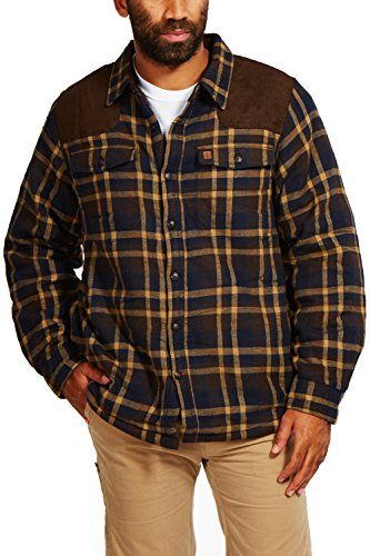 - Coleman Sherpa-Lined Flannel Shirt Jacket With Faux Suede Shoulder Patches (Large, Brown Navy)