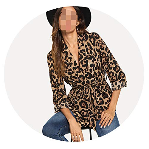 Multicolor Office Lady Shawl Collar Belted Leopard, used for sale  Delivered anywhere in USA