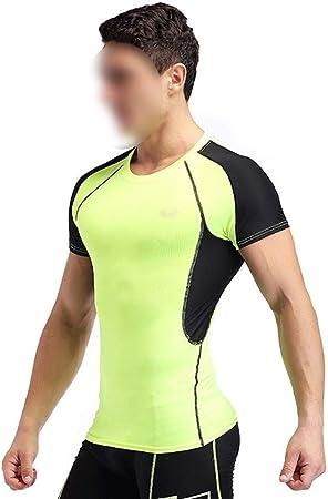 Camisas for Hombre sin Mangas de compresión La compresión de Manga Corta en seco Baselayer Fit Camisa de los Hombres se Divierte Las Camisetas Baselayer Camisetas (Color : Green, Size : M):