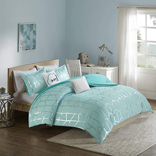 Kaputar Beautiful Chic Aqua Blue Silver Grey Teal Chevron Stripe Girl Soft Comforter Set   Model CMFRTRSTS - 12   Twin