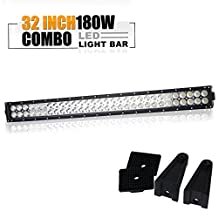 "TURBOSII 32"" Inch 180W 12-24V Flood Spot Combo Offroad Led Work Light Bar Auxiliary Driving Lamp On Grill Windshield Bumper Roof Rack For Jeep Polaris RZR Truck Honda Dodge 2500 Zero Turn Pickup Ford"