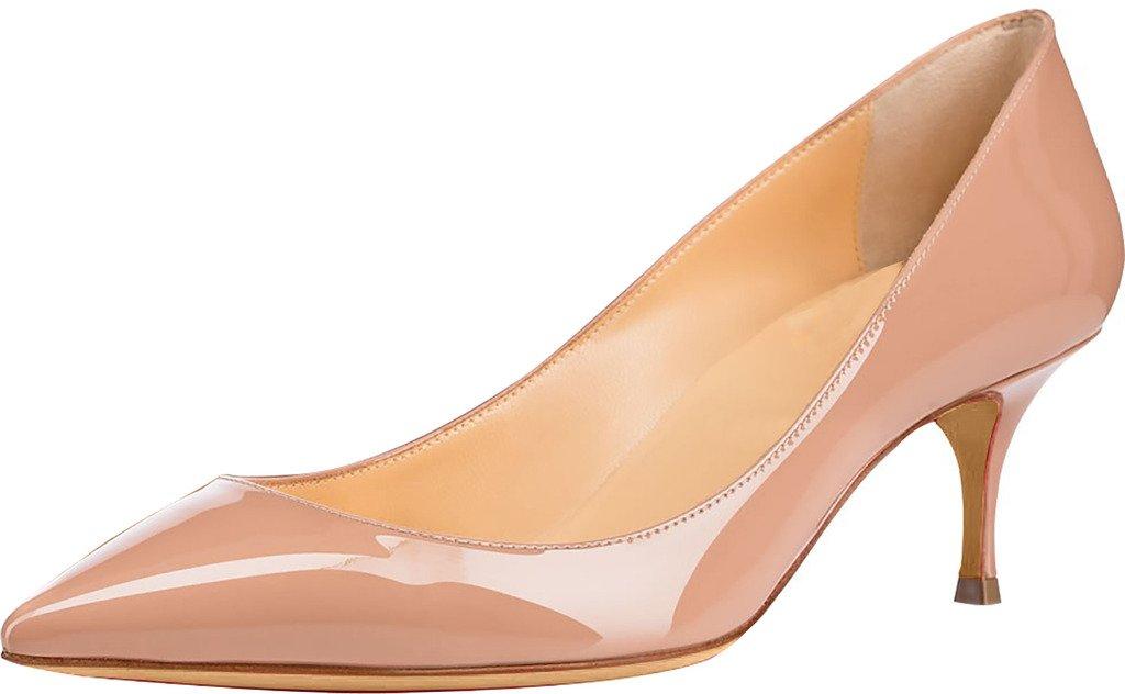 Calaier Mujer Cabelow Tacón de Aguja 5.5CM Sintético Ponerse Zapatos de Tacón 41.5 EU|Beige