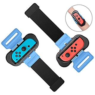 Wrist Bands for Just Dance 2020 2019 for Nintendo Switch Controller Game, Adjustable Elastic Strap for Joy-Cons Controller, Two Size for Adults and Children, 2 Pack (Black)