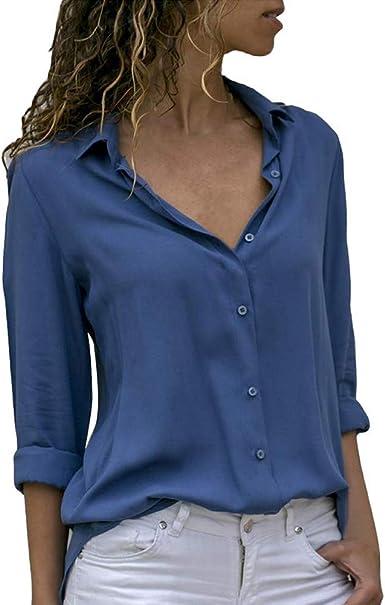 Decai Camisa Mujeres Blusa Casual Cuello V Camiseta Túnica Color Puro Camisa de Gasa Mangas Largas para Mujer Sexy Camisetas Tops: Amazon.es: Ropa y accesorios