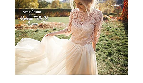 cbf3c99438 Amazon.com: Macrame Nude Dress Tulle Set Lace Crop Top, Sleeves and Tulle  skirt long, Nude Lace Crop Top, Bridesmaids Blush Dress: Handmade