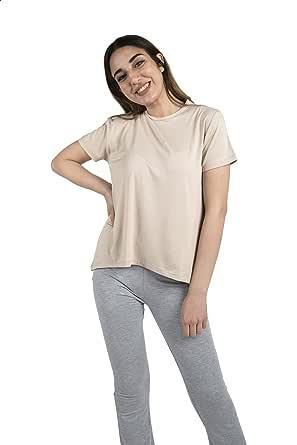 Believe EG Basic Asymmetrical Hem Short Sleeves Crew Neck T-shirt for Women