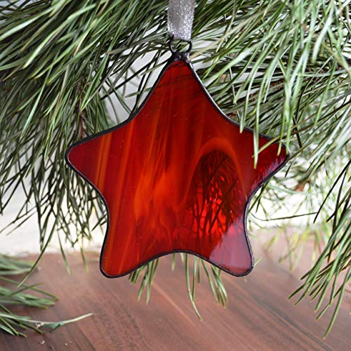 ZangerGlass Christmas Red Star Stained Glass Ornament Window Hanging, Tree Decoration, Wall Decor