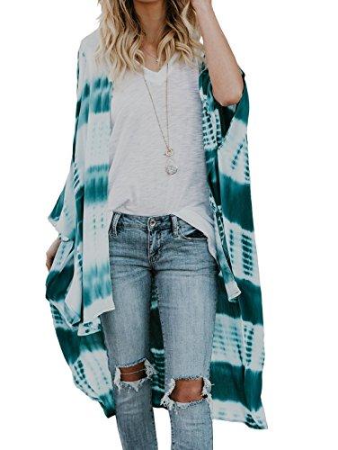 Floral Season Women Plus Size Long Sleeve Shawl Chiffon Kimono Cover up Forest Green XX-Large (Kimono Plus)
