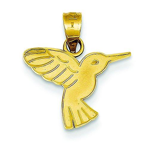 14K Yellow Gold Hummingbird Charm Pendant ()
