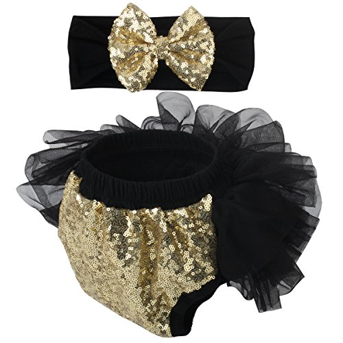 Slowera Baby Girls 2PCS Sets Cotton Tulle Sequins Diaper Cover Bloomers and Headband (Black Gold, S: 0-6 Months) -