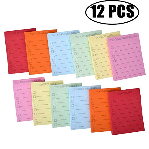 Super Sticky Notes,Coxeer 3in x 4in Lined Sticky Notes Assorted Neon Color(12 Pack,100 Sheets/Pad) (Multicolor) for $<!--$11.98-->