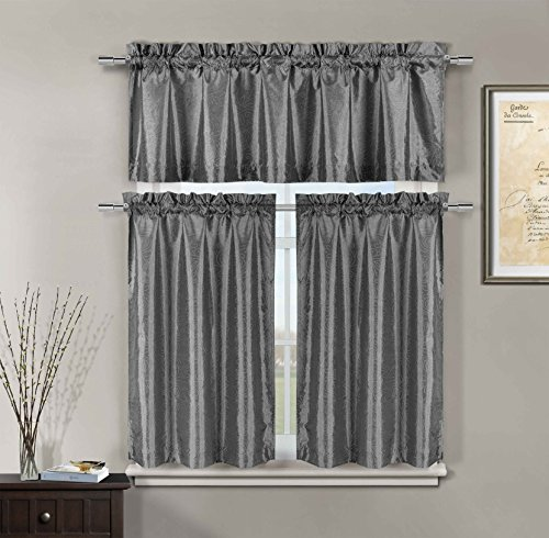 (3 Pc Kitchen Window Curtain Set: Faux Silk, Raised Pin Dots, Floral Design (Gray) )