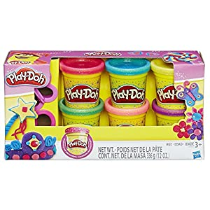"""""""Your Play-Doh creations will be bright and sparkly with the Sparkle Compound collection! You get 6 colors of shiny, twinkly Sparkle Compound and 2 cutters to make flowers, gems or other beauties. The only limit to your artistry is your own imaginati..."""
