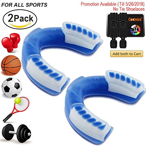 Coolnice Sports Mouth Guard for Adult (Age 11+), Pro-Quality Stylish Protect Your Teeth and Gums. Easy Custom-Fit with Extra Grip, for Boxing, MMA,Football, Hockey, Multi-Sport - 2 Pack