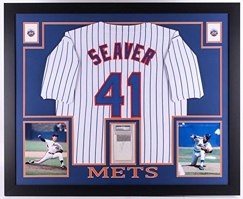 Tom Seaver Autographed Signed Mets 35x43 Deluxe Framed Display Jersey & Autographed Signed Cut - PSA/DNA Certified